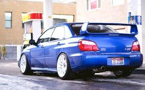 Subaru, Задок, Обоя, Снег, Автомобиль, СТИ, Зима, Ипреза, Субару