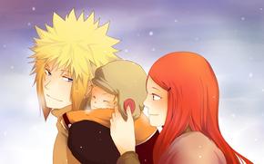 son, view, eyes, sky, Uzumaki Kushina, Family, mum, anime, snow, Naruto, Happiness, dad, Winter, Namikaze Minato, Uzumaki Naruto