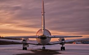 закат, аэродром, самолёт
