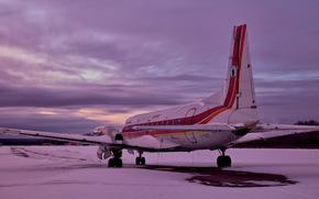 самолёт, аэродром, закат