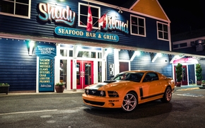 sign, front view, ford, yellow, building, Sahlin, ford, lights, Mustang