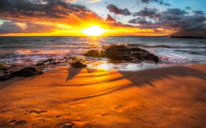 Sunrise, sea, coast, rocks, landscape