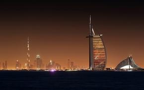Город, Красиво, Свет, Дубай, Небоскребы, Ночь, Обоя