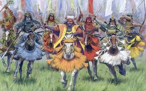 Samurai, guerra, bandiera, Cavallo