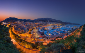 Monte-Carlo, City prepares for Formula 1, sunset, lights