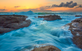 штат орегон, закат, море, пейзаж