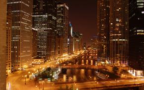 chicago, чикаго, небоскребы, ночь, огни, река, мосты