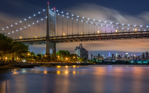 le pont de Triborough, triboro, Pont de Triborough, New York, New York City, nyc, New York, Manhattan, Manhattan, USA, USA, Ville, soire, lumires, rivire, Immeubles de grande hauteur, btiment, maison, Gratte-ciel