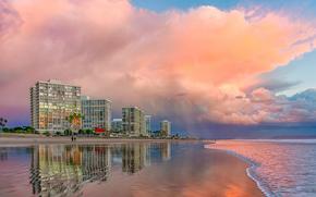 California, San Diego, playa, las nubes, rosa