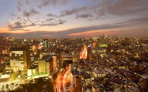 Tokyo, maison, Gratte-ciel, mgalopole, crpuscule, lumires