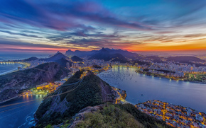 панорамма, Рио-де-Жанейро, br, город, rio de janeiro, закат, канатная дорога, океан, горы, дома, бухта, яхты,