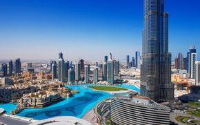 city, cities, dubai, burg califa, Дубай, панорама, высотки, дома, фонтан.