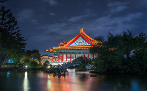 Taiwan, Taipei, Taiwan, The National Theatre, building, architecture, Garden, Trees, bridge, pond, night, lighting, blue, sky, clouds
