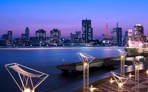 Japon, tokyo, capital, Japon, Tokyo, capital, mgalopole, lumires, clairage, extrait, tour, maison, btiment, Gratte-ciel, baie, nuit, Bleu, lilas, ciel