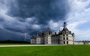 france, chateau de chambord, France, Chateau de Chambord, castle, sky, clouds, storm, lightning