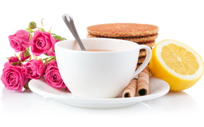 Rose, cup of tea, cookies, lemon