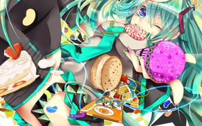 Arte, torta, anime, ragazza, cuffia, giocatore, fragole, Vocaloid, torta, confezione, caramella