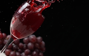 wine, red, goblet, grapes, Black Background, spray