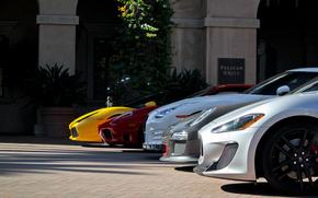 argento, giallo, Nissan, Lamborghini, albero, edificio, Altri marchi, Porsche, rosso, bianco, Maserati, Ferrari