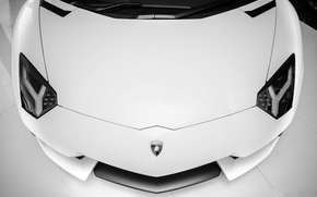 Supercar, Lamborghini, lumires, aventador, blanc, Lamborghini