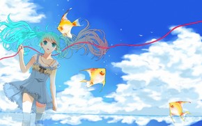 girl, water, Art, tape, Fish, fish, Vocaloid