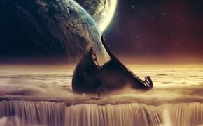 la figura, hombre, silueta, metal, cascada, Planeta, Estrella, esqueleto