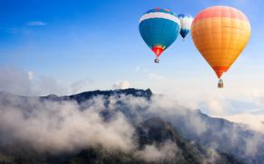 воздушные шары, горы, небо, высота, облака