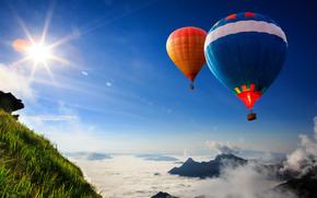 полет, склон, воздушные шары, в небе, трава, солнце