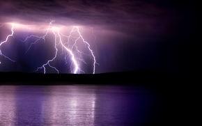 water, night, Lightning
