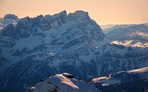 Mountains, snow, dawn