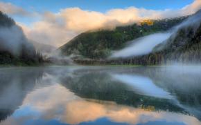 lac, fort, Montagnes, brouillard