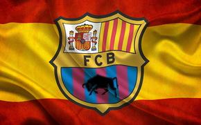 flaga, fc barcelona, barca, logo, Hiszpania, FC Barcelona, Barca, Hiszpania