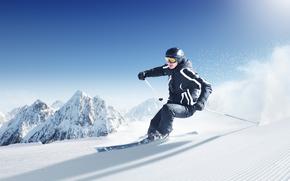 Mountains, snow, Skiing