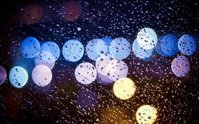 nuit, gouttes, lumires, pluie