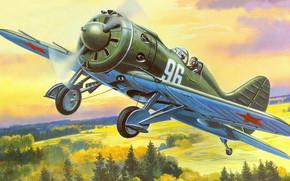 takeoff, Soviet single-engine piston fighter monoplane, picture, ishachok, rat, type