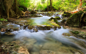 Trees, waterfalls, stones, sun, river, forest