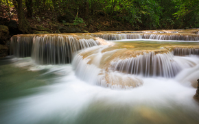 river, water, nature, waterfalls, forest