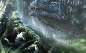 pangoln, monstruo, bosque, hambre, Arte, cabeza, Animales, los animales