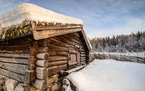 casa, neve, inverno