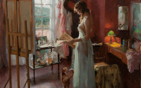 peridico, gato, habitacin, hoja, ventana, maana, espejo, imagen, mesa, caballete, Arte, nia, taller, lmpara
