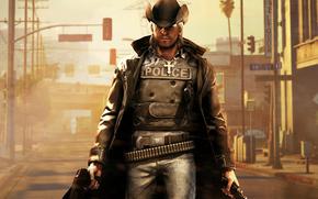 пистолеты, пробитый бронежелет, шляпа, крест