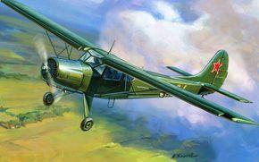 СССР., самолет, легкий, многоцелевой, ВВС, транспортный, арт