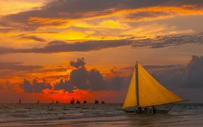 парусники, закат, море