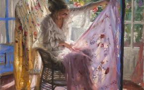 картина, ткань, платок, арт, окно, свет, комната, девушка, листья