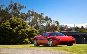 red, Ferrari, Ferrari, lawn, clouds, sky, Trees, Italy, reflection