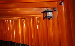 Personaggi, corridoio, Pilastri, Giappone, lanterna