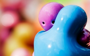 розовый, статуэтки, голубой, обнимаются, макро