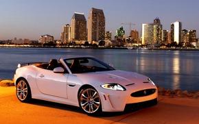 Город, Машина, Jaguar, Обоя, Свет, Автомобиль, Ягуар, Белая