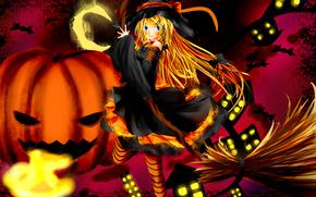 девушка, бант, месяц, огни, хэллоуин, ведьма, летучие мыши, арт, аниме, тыквы, метла, дома