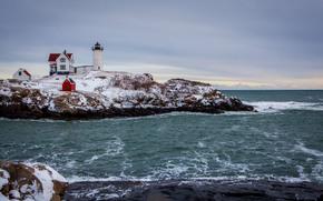 inverno, mare, coste rocciose, faro, paesaggio